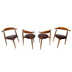 Set of Four Early Hans Wegner 4103 Chairs Fritz Hansen 1952