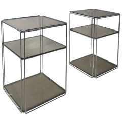 "Pair of Max Sauze  'ISOCELE""  side tables, Groupe S.A, France,1970"