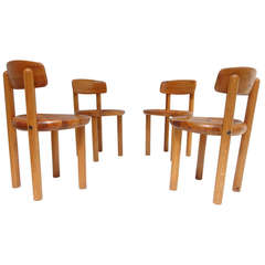 Four Rainer Daumiller Pine Dining Chairs, Denmark, 1970