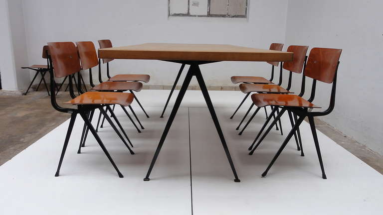 Mid Century Modern Friso Kramer And Wim Rietveld Result Chairs, Set Of 8  From