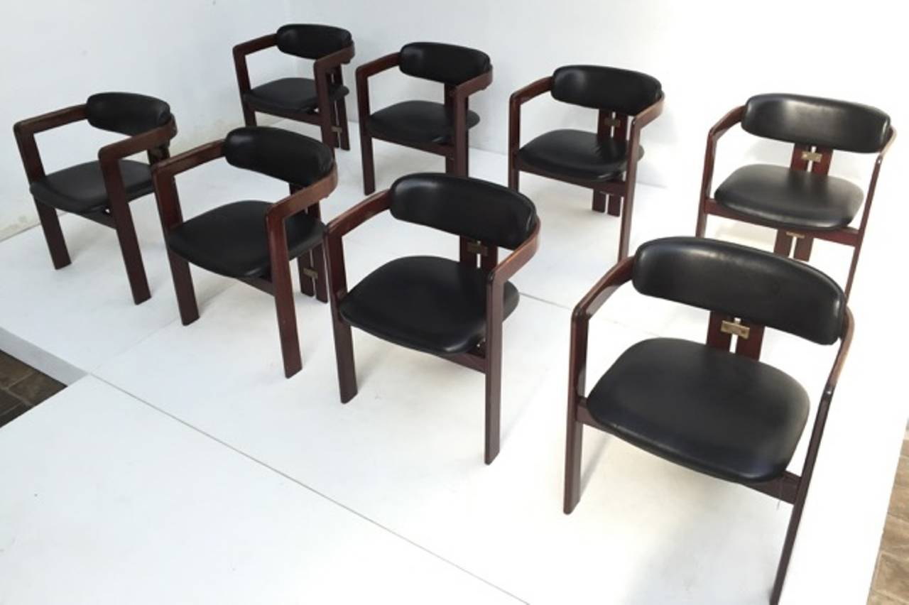 8 Augusto Savini Dining Chairs In Leather With Original