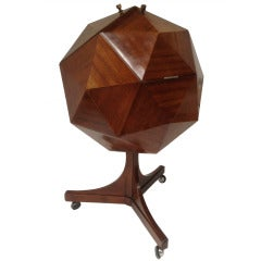 Important 1950s Italian Polyhedron Form Bar in Mahogany Attributed to Ico Parisi