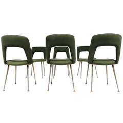 Six as found French Dining Chairs in the Style of Arflex and Augusto Bozzi