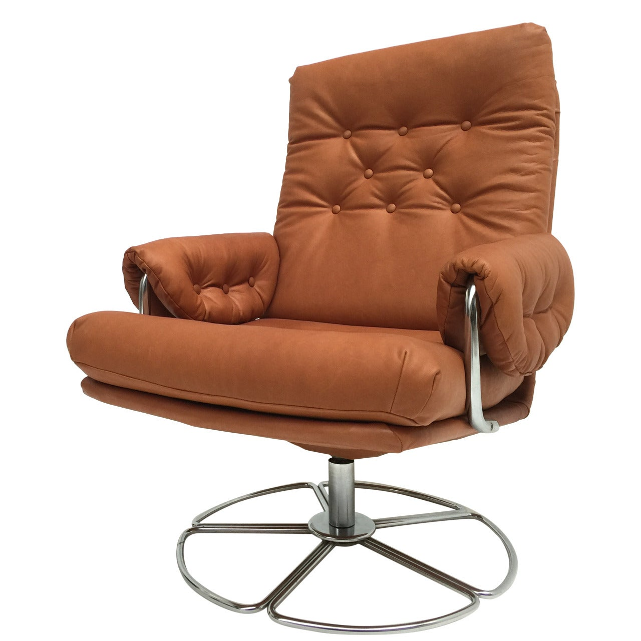 Rare Bruno Mathsson Leather and Chrome Swivel Easy Chair for Dux Sweden