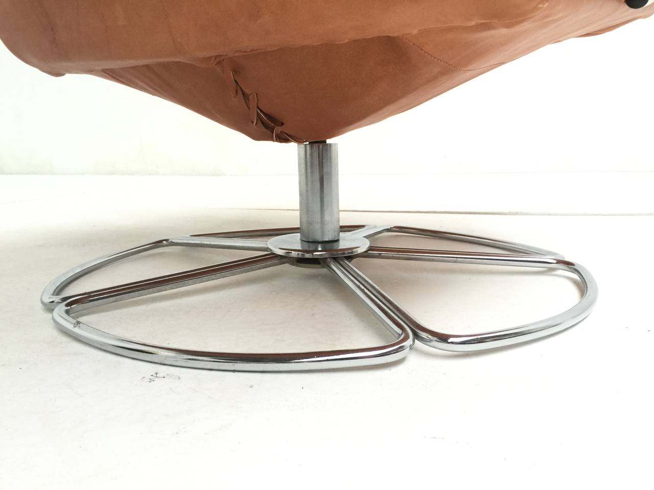 rare bruno mathsson leather and chrome swivel easy chair for dux