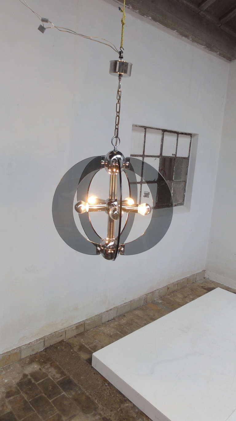Large 70s Italian Murano Glass And Chrome Chandelier In