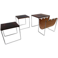Rosewood and Leather Nesting Tables by Brabantia, The Netherlands, 1970s