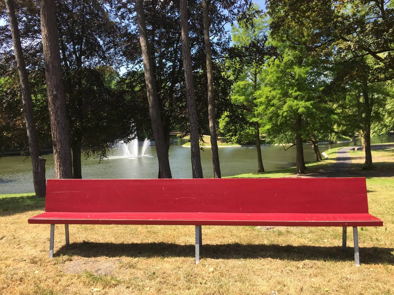 This very long wooden bench was custom ordered and adapted to suit a space in a monastery complex in Tilburg  These benches come with an email from the Dom Hans van der Laan Foundation confirming that Dom Hans van der Laan did works for this