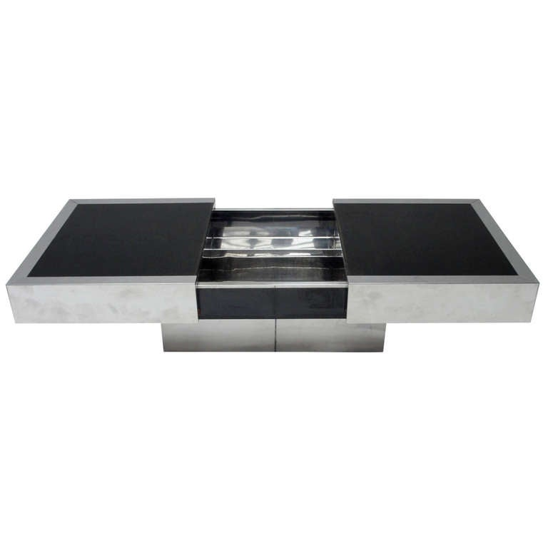 Super Elegant 1975 Willy Rizzo Opening Table Bar in Stainless Steel and Glass