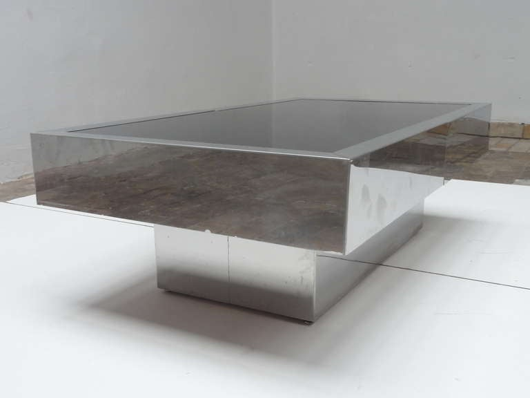Super Elegant 1975 Willy Rizzo Opening Table Bar in Stainless Steel and Glass In Fair Condition In bergen op zoom, NL