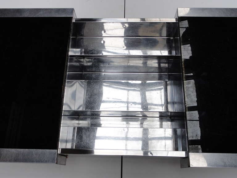 Super Elegant 1975 Willy Rizzo Opening Table Bar in Stainless Steel and Glass 2