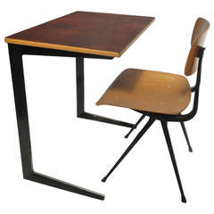Friso Kramer Custom leather Top 'Result' Desk with early edition Result chair