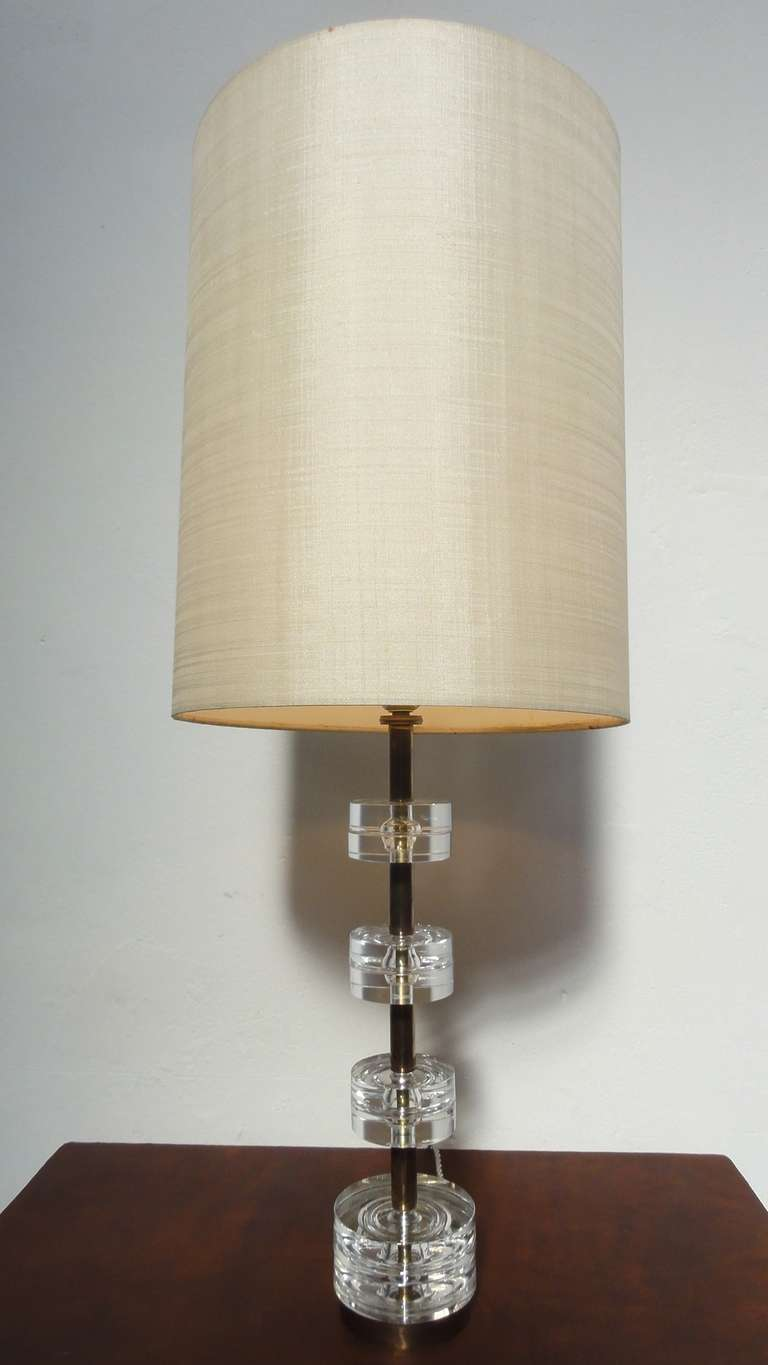 Crystal Glass Disk and Brass Table Lamp by Orrefors Carl