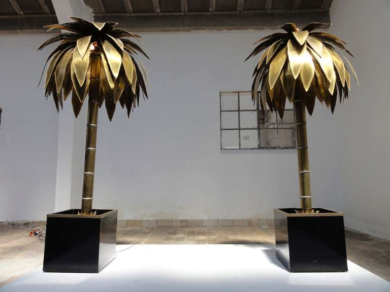 Stunning Pair of Maison Jansen Brass Gilded Metal Palm Tree Floor