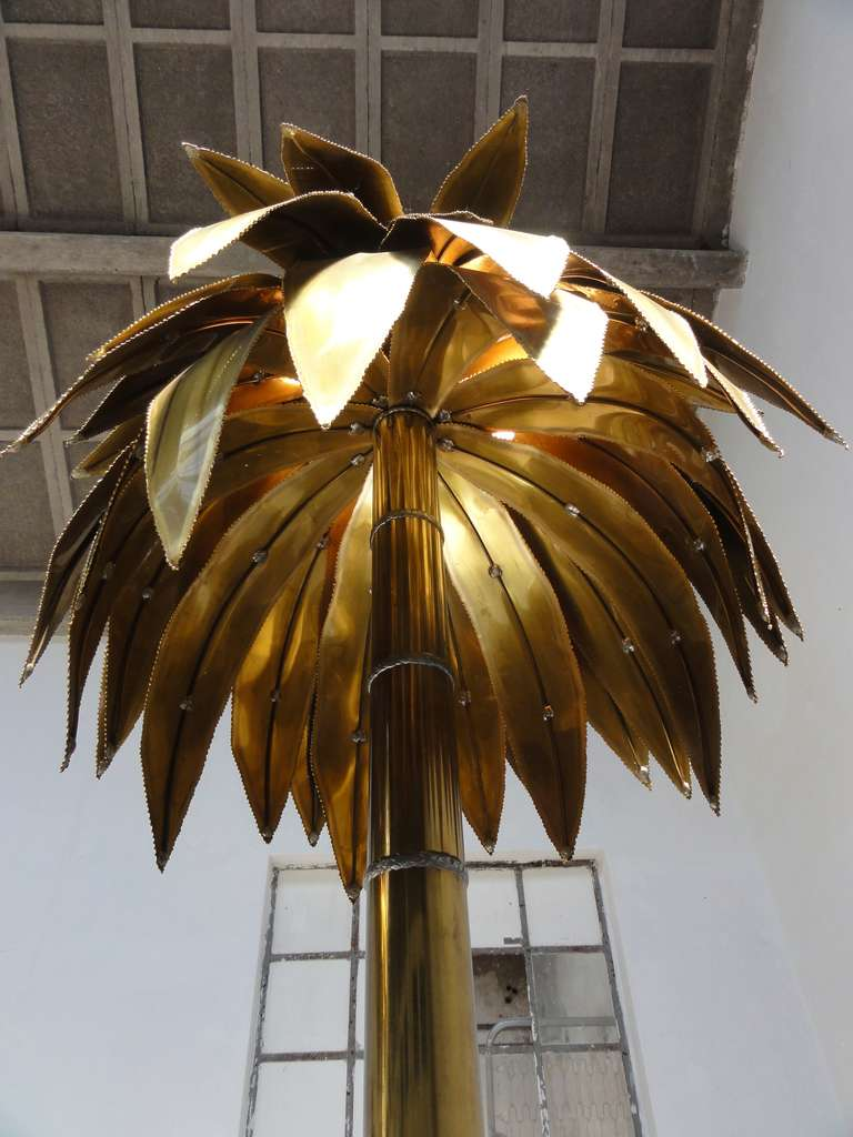 Stunning Pair Of Maison Jansen Brass Gilded Metal Palm