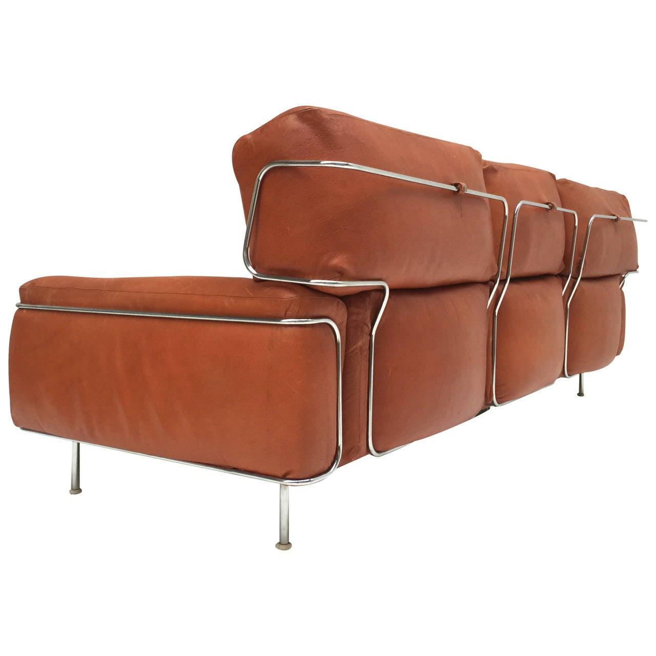 rare three seat leather sofa by vittorio introini for sapori
