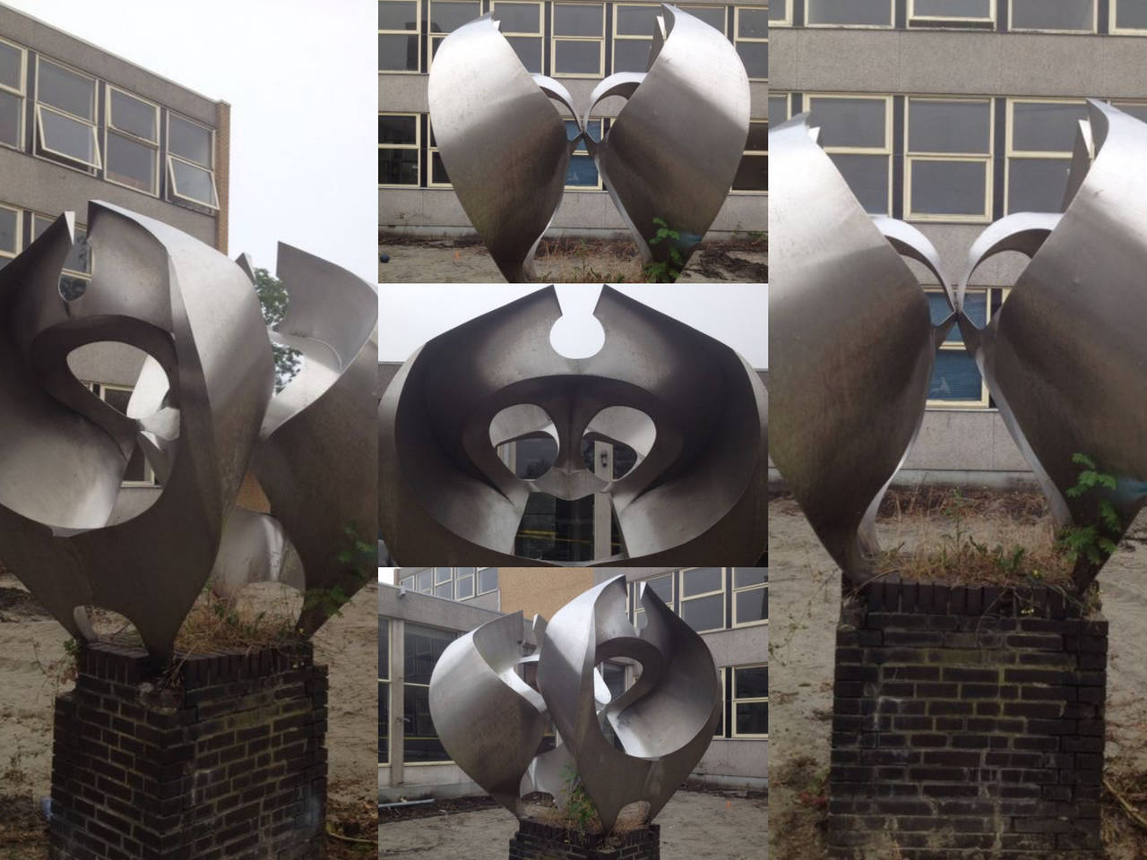 A monumental sculpture in stainless steel / Inox by Dutch artist Diet Wiegman made in 1969