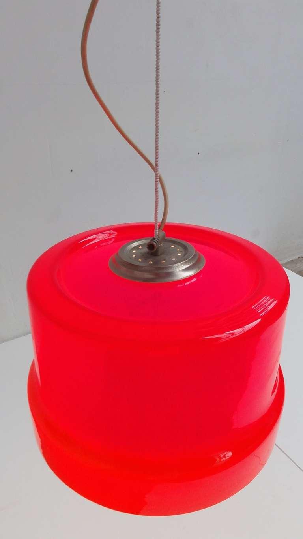 Murano Glass Stunning Large Red Vistosi Pendant For Sale