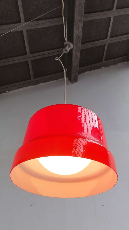 Stunning Large Red Vistosi Pendant For Sale 2