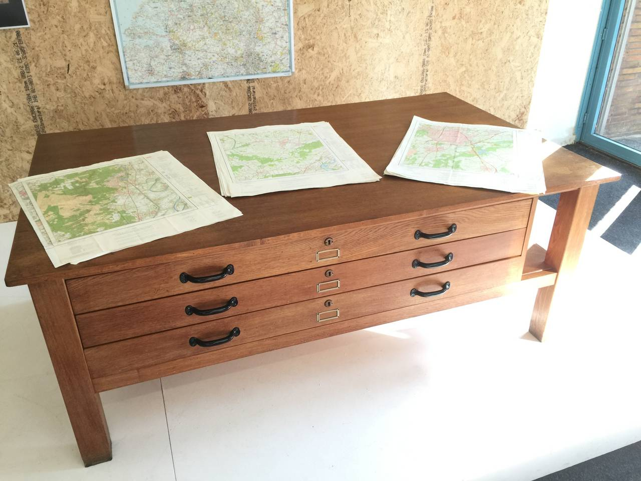 This Large Table In Oak With Three Large File/map Drawers Was Used In The