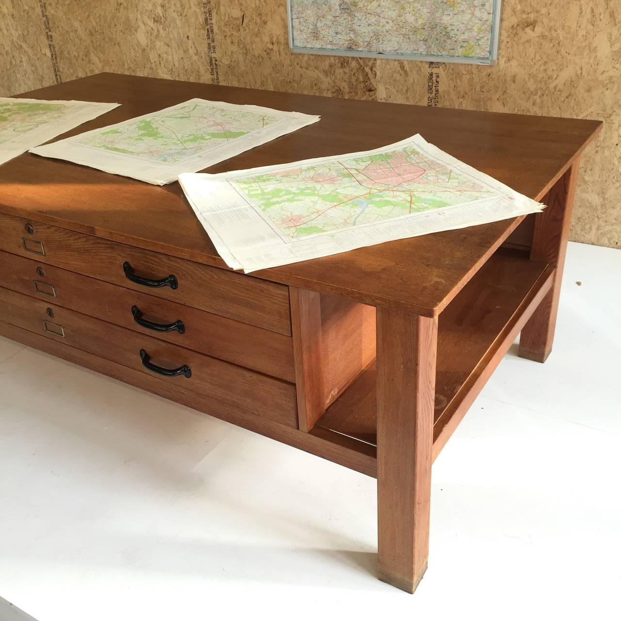 Large Oak Architects Flat File Map Table From Dutch