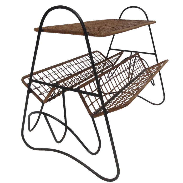French 1950s Wicker and Metal Side Table or Magazine Rack For Sale