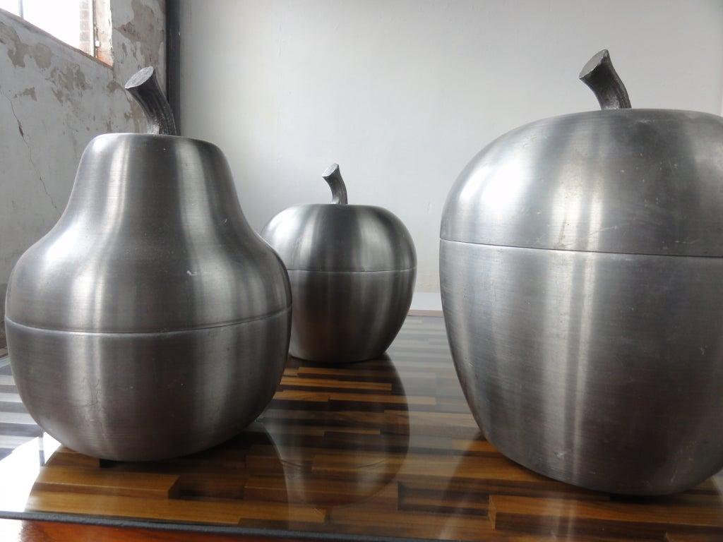set of 4 Italian apple/pear ice buckets 1970's Sottsass inspired 4