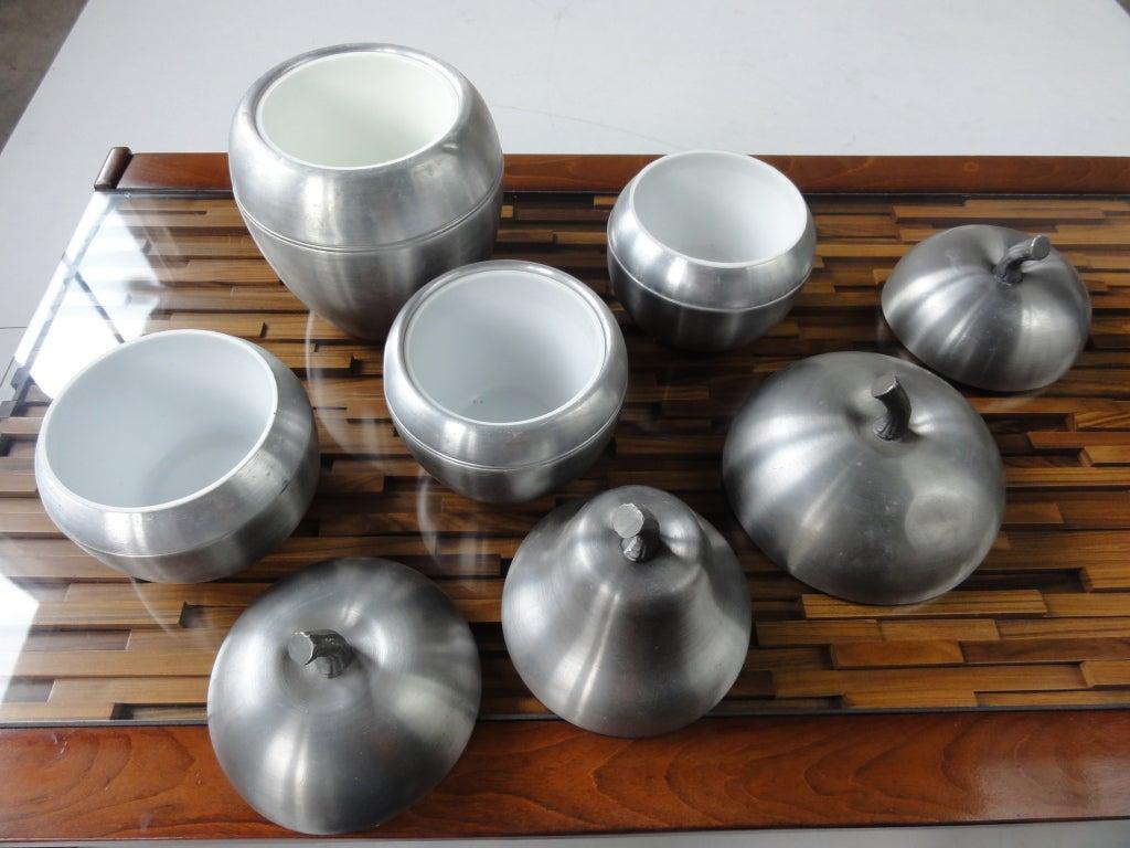 set of 4 Italian apple/pear ice buckets 1970's Sottsass inspired 5