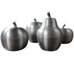 set of 4 Italian apple/pear ice buckets 1970's Sottsass inspired