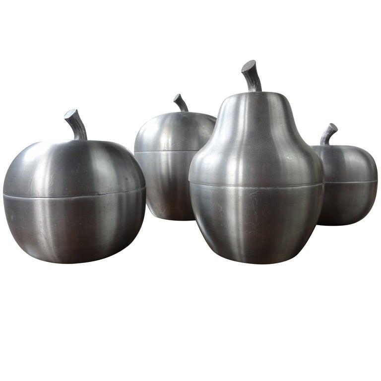 set of 4 Italian apple/pear ice buckets 1970's Sottsass inspired 1