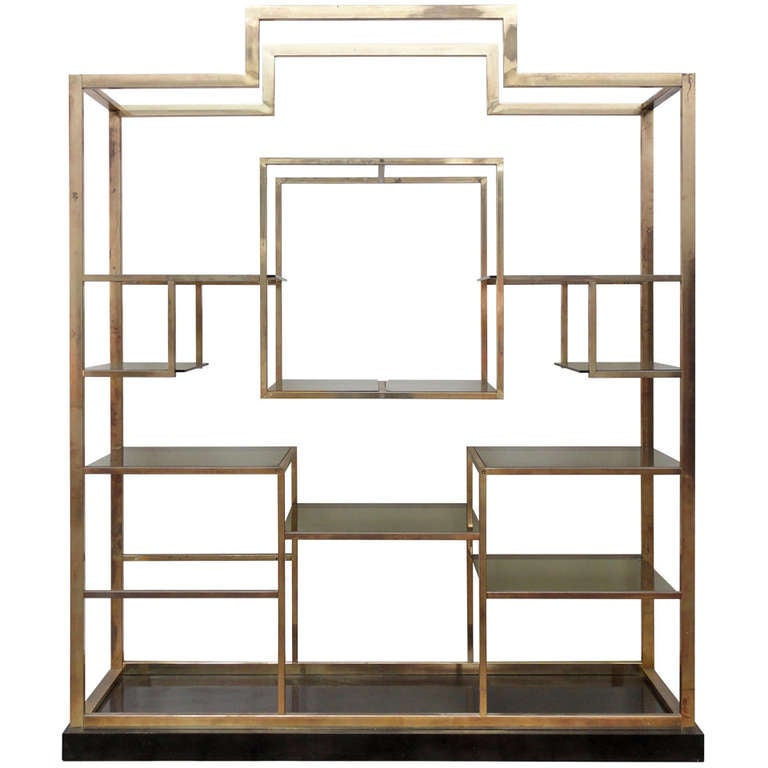 Monumental Geometric Large Brass Shelving by Romeo Rega, Italy, 1970's