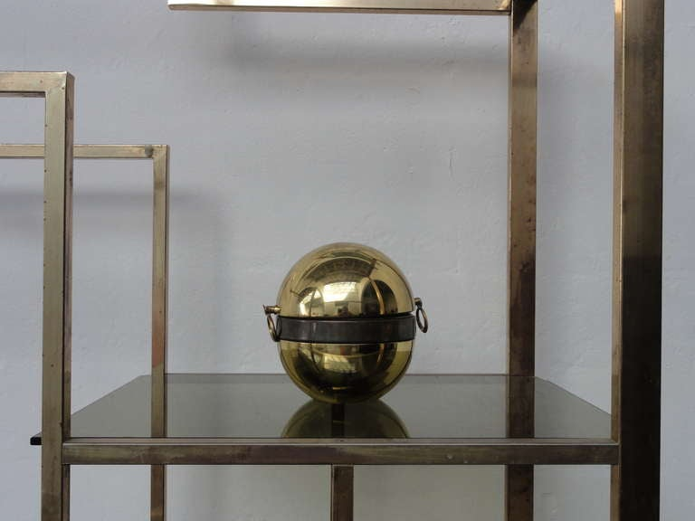 Monumental Geometric Large Brass Shelving by Romeo Rega, Italy, 1970's image 4