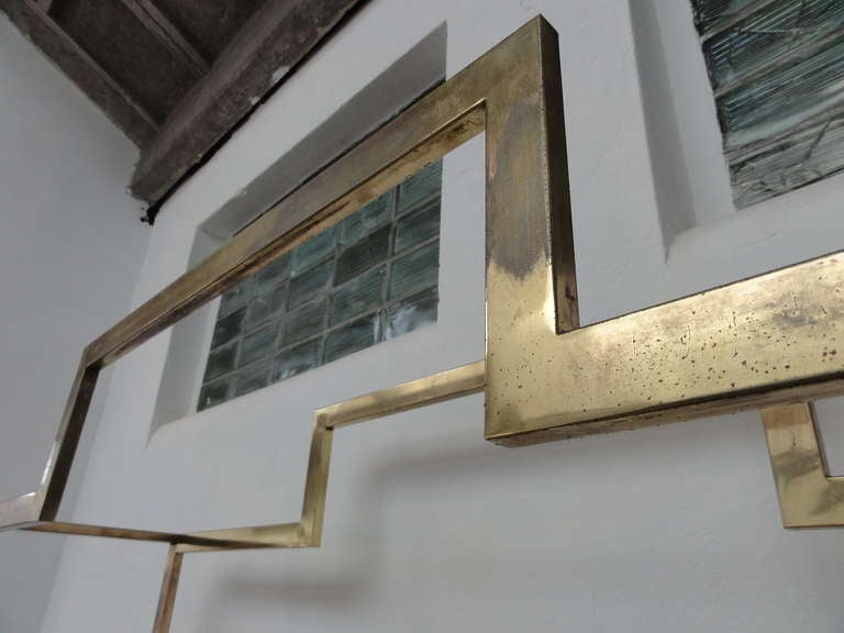 Monumental Geometric Large Brass Shelving by Romeo Rega, Italy, 1970's image 10