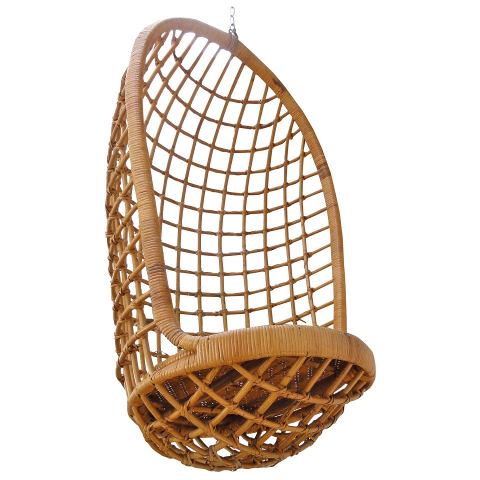 Hangstoel Egg Chair Wit.1960 S Rohe Cane Hanging Chair Noordwolde The Netherlands At 1stdibs