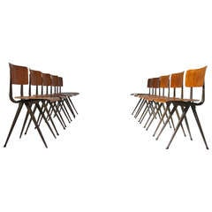 10 early Marko industrial chairs in the style of Friso Kramer