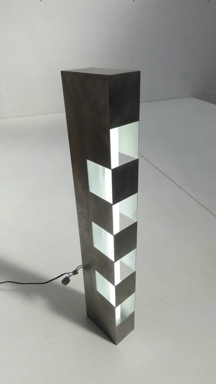 Beautiful 1960s Italian Stainless Steel Light Sculpture Reminiscent of Sarfatti For Sale 2