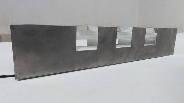 Beautiful 1960s Italian Stainless Steel Light Sculpture Reminiscent of Sarfatti For Sale 1