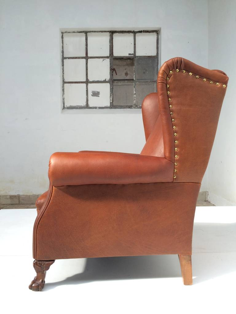 Very Comfortable Neo Gothic 'Griffin Talon' vintage leather Wingback chair 6
