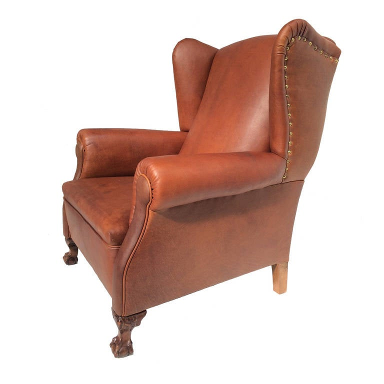 Very Comfortable Neo Gothic 'Griffin Talon' vintage leather Wingback chair  ... - Very Comfortable Neo Gothic 'Griffin Talon' Vintage Leather Wingback