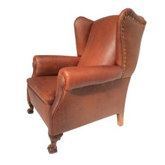 Very Comfortable Neo Gothic 'Griffin Talon' vintage leather Wingback chair