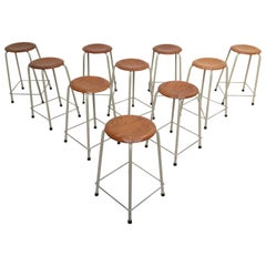 Ten Stackable Dutch Industrial University Lab Stools by Ahrend, 1970s