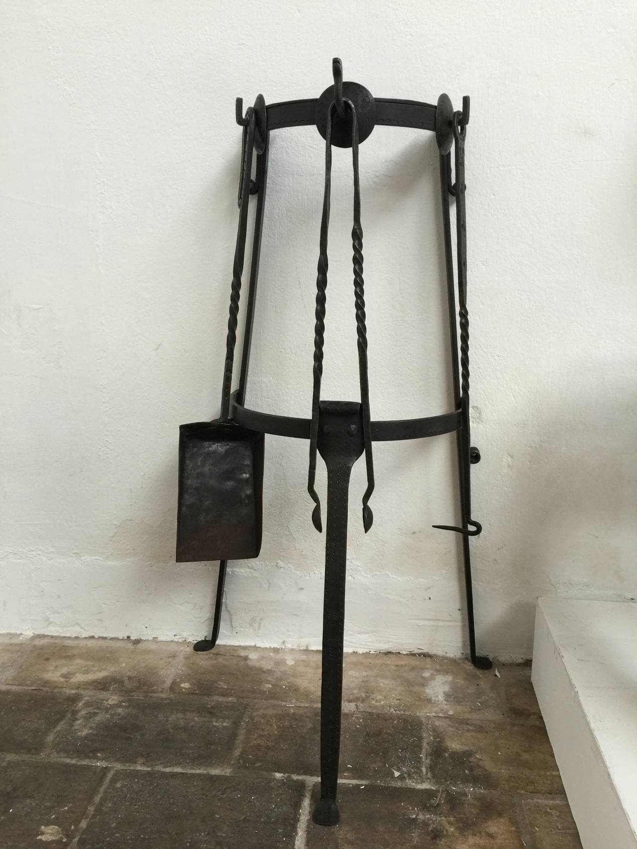 Mid Century Modern Danish Wrought Iron Fireplace Tool Set For Sale At 1stdibs