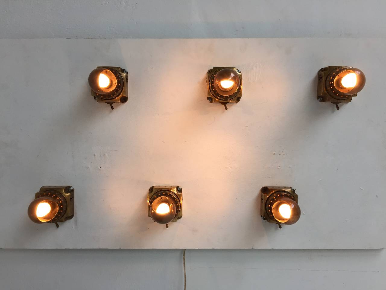 Nautical Wall Sconces With Switch : Stunning Dutch Brass Nautical Adjustable Machine Industrial Age Wall Sconces at 1stdibs