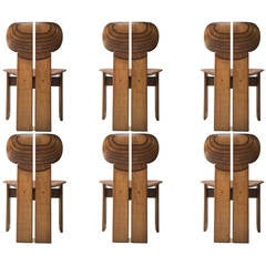 'Africa' Chairs by Scarpa, Finished in Walnut, Ebony and Leather, Signed