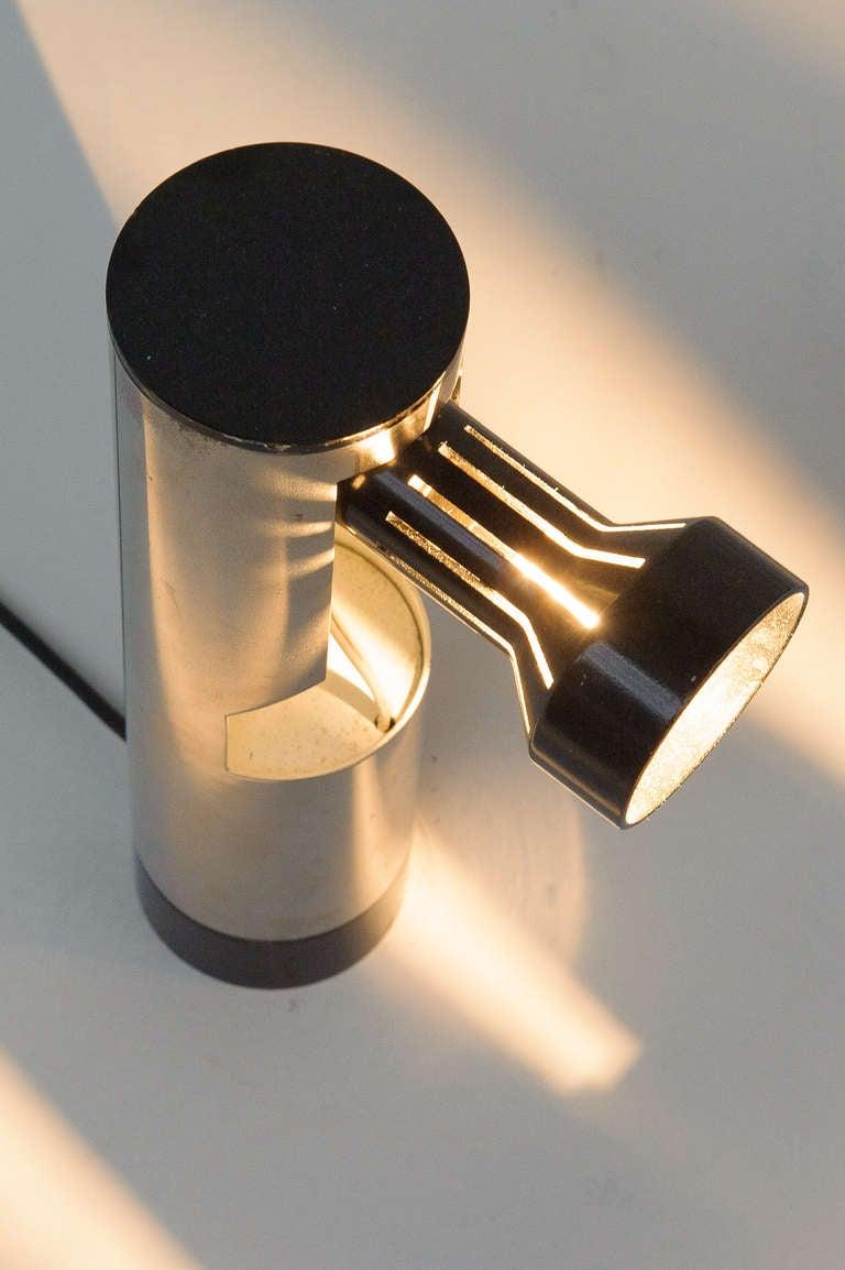 Minimalist Angelo Lelli Lamp, Rotating Light Source, Arredoluce, Rare Model, Original Label For Sale