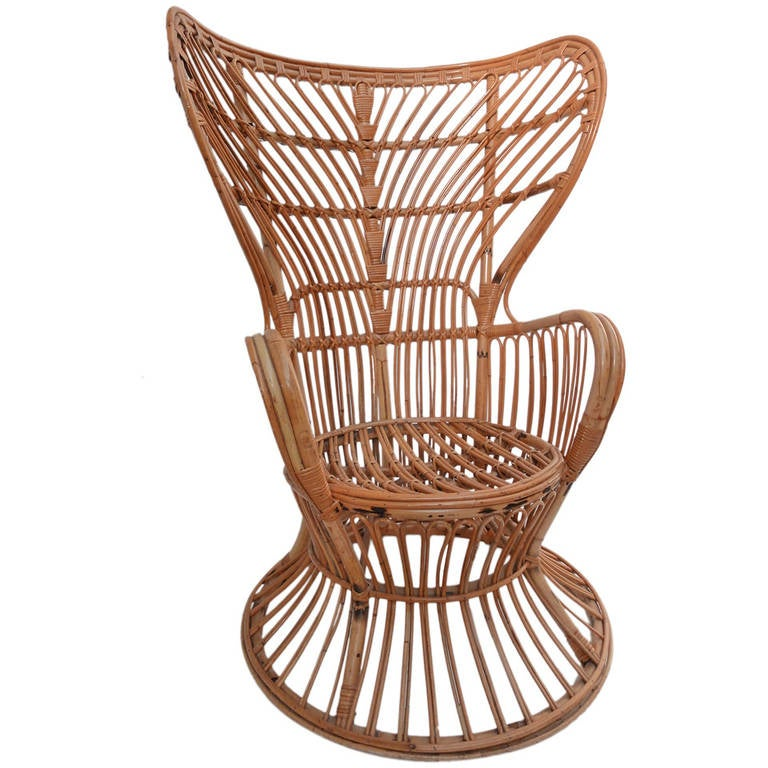 1960s Rattan Armchair in the Manner of Gio Ponti