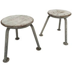 Pair of French 1950s Stools in the Manner of Jean Prouve