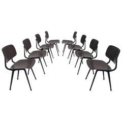 Rare Set of Eight Revolt Chairs by Friso Kramer for Ahrend de Cirkel, 1953