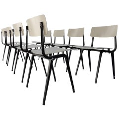 Extremely Rare Set of 8 Friso Kramer 'theatre' Chairs with Fold Up Seats