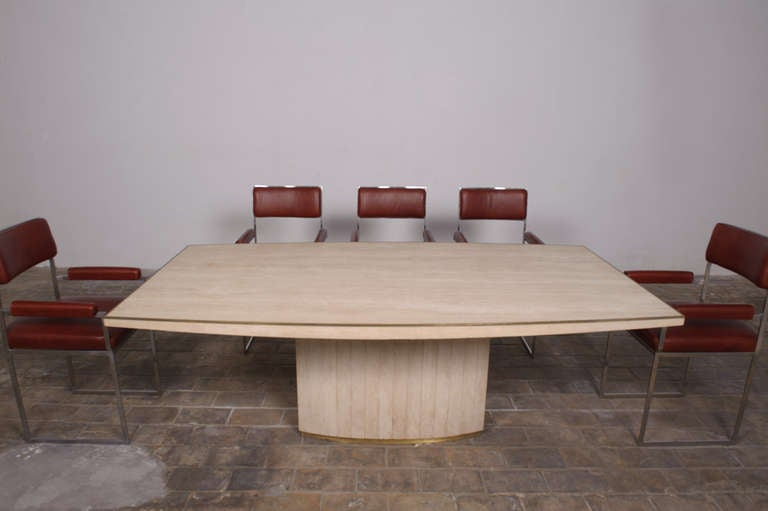 Stainless Steel Exquisite Willy Rizzo Dining Set, Signed and Published in Casa Vogue For Sale